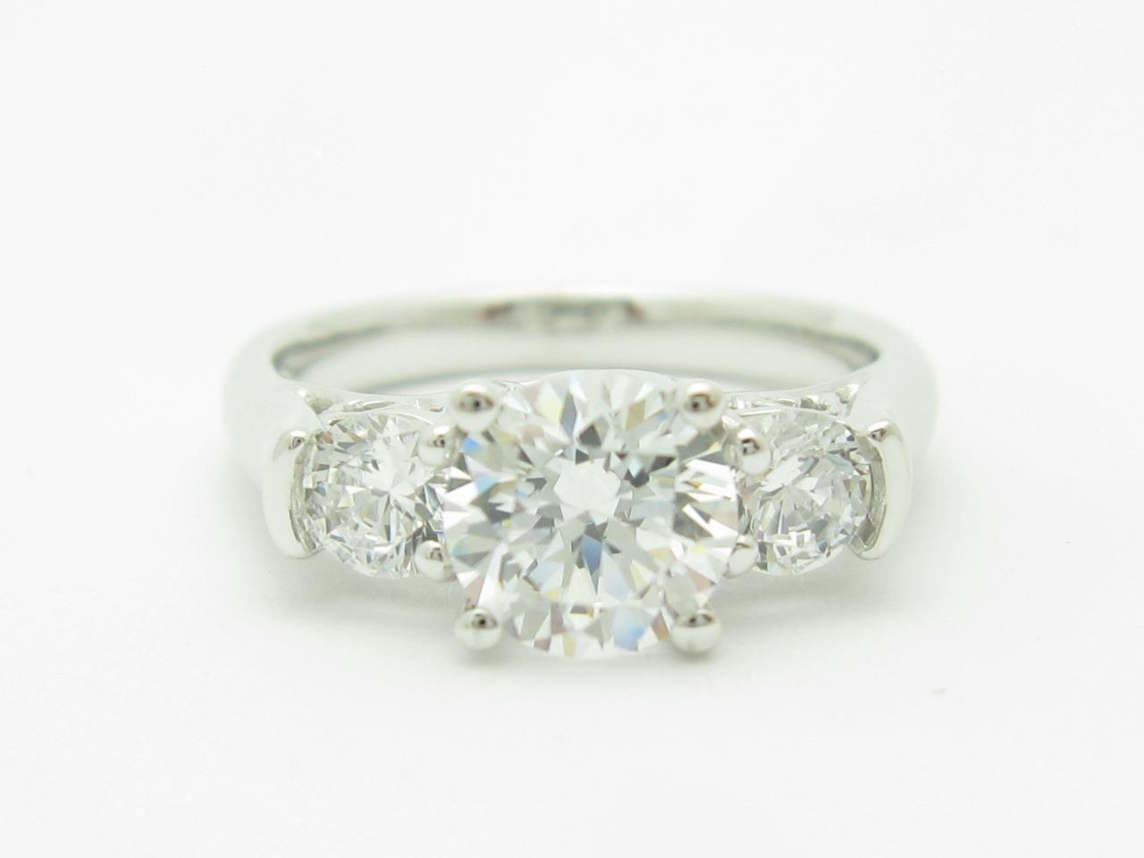 14k White gold 3 Stone Design White Sapphire Engagement Travel Promise Ring