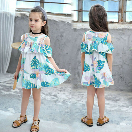 Summer Toddler Baby Girls Leaf Print Skirt Beachwear Princess Casual Sundress US