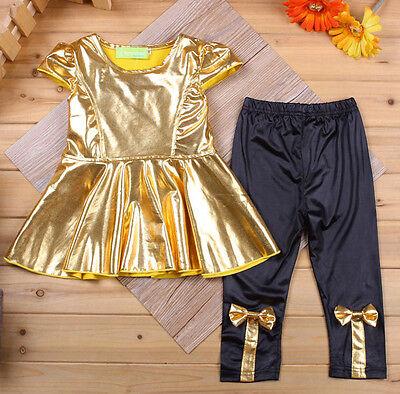 2016 New  Kids Baby Girls Casual Toddler Shirt Dress + Legging Pants Set Clothes