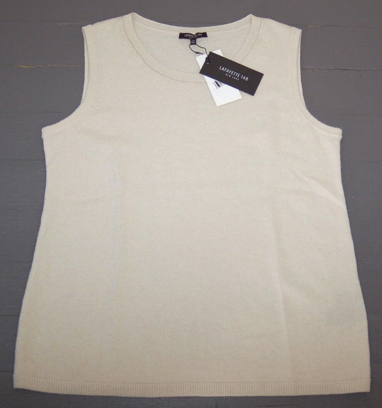 Lafayette 148 NY Women's Cashmere Vest, Oyster Melange, Size L