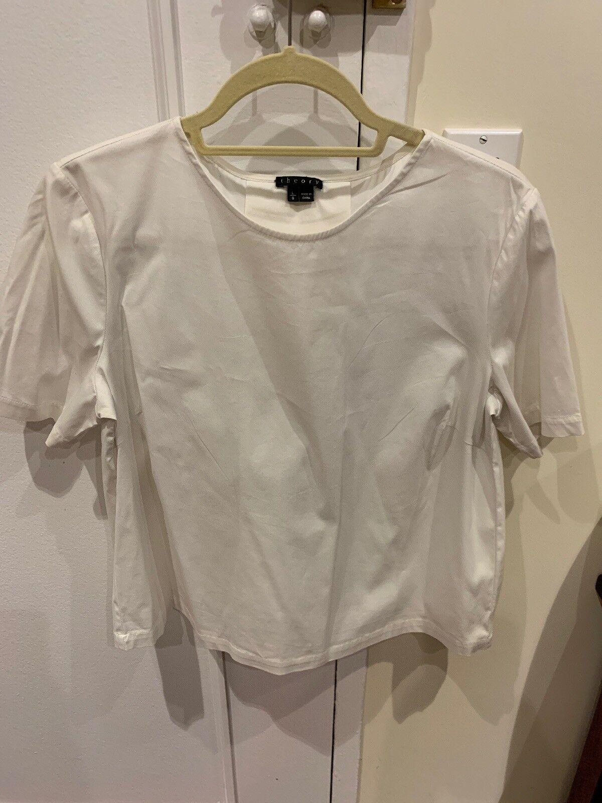 damen's Theory Weiß Short Sleeve Top, Größe Large