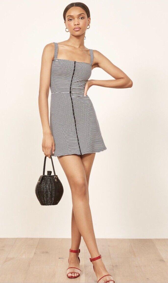 NWT Reformation Nellie Mini Dress Weiß  schwarz Strip Größe Xs 78.00