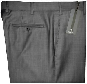 325-NEW-ZANELLA-ITALY-NORDSTROM-DEVON-DARK-GRAY-WEAVE-SUPER-120-039-S-WOOL-PANTS-42
