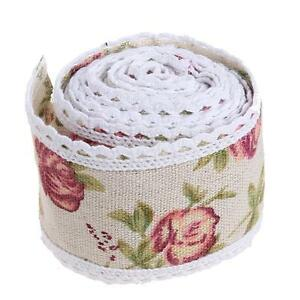 1m Vintage Flower Lace Edged Hessian Burlap Ribbon Roll for Wedding Party Decor
