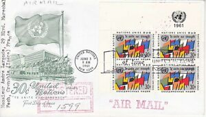 United-Nations-NY126-Enveloppe-1er-jour-1961-To-Unite-our-Strenght-Airmail-30c
