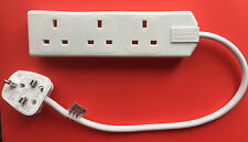 NEW 3 Way Mains Plug Adapter Gang Cable Multi-Socket  FUSED PLUG With wire