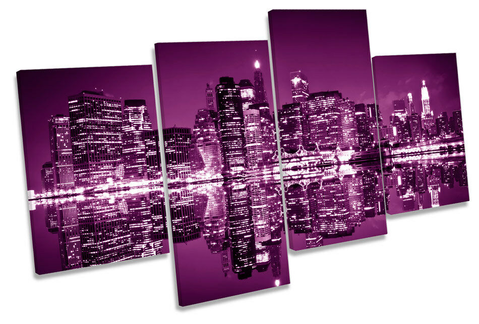 lila New York City Skyline Picture MULTI CANVAS WALL ART Print