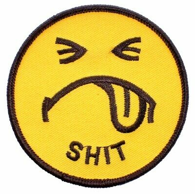 """PM3004 SMILEY FACE /""""SHIT/""""EMBROIDERED PATCH"""