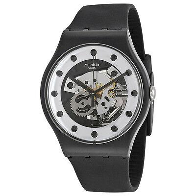 Swatch Originals Silver Glame Skeleton Dial Black Silicone Mens Watch SUOZ147
