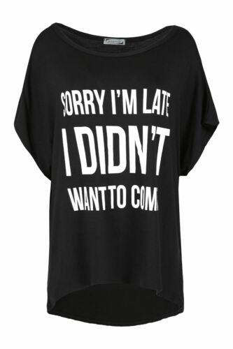 Womens Ladies Scoop Neck Batwing Short Sleeve LOVE High Low Baggy T Shirt Top