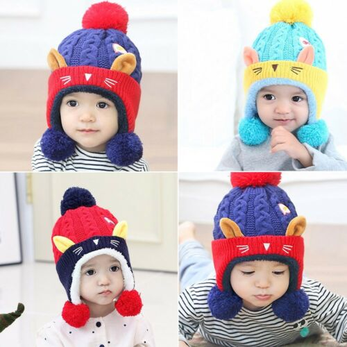 Children Kids Baby Girl Boy Winter Cartoon Cat Ears Knitted Hat Villus Warm Hat