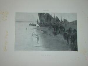 Gravure-ALBERT-BAERTSOEN-MARINE-SOIR-de-PECHE-PECHEUR-FLANDRES-1894-BATEAU