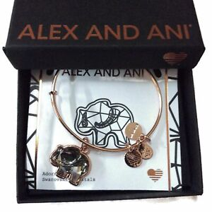fc87184559aa2 Details about Alex and Ani Women's Crystal Elephant Charm Bangle, Shiny  Rose Gold