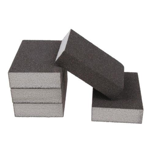 5PC Abrasive Wet Dry Sanding Foam Sponge Block Pad Plastic Metal 60-600 Grit