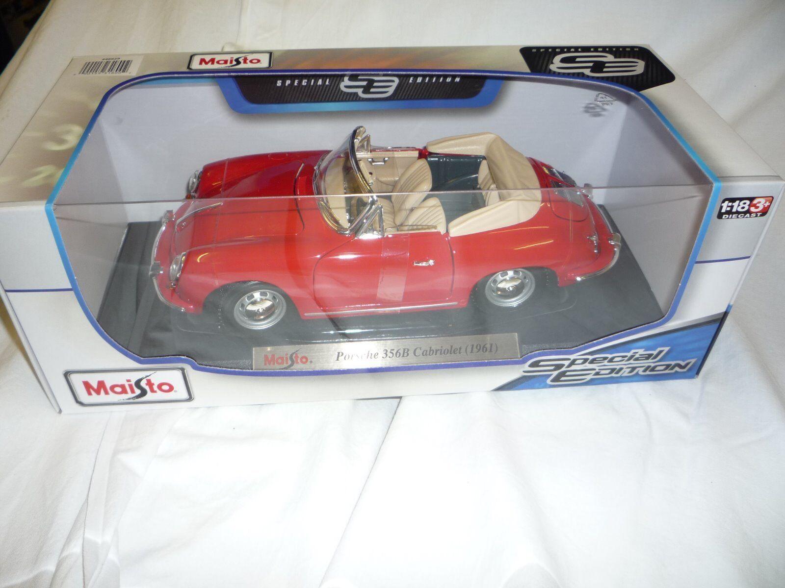 rosso-Porsche 356B Cabrio (1961) coches de fundición de metal con piezas de plástico