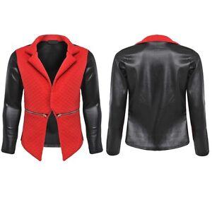 blazer damen jacke brautjacke schwarz rot leder optik. Black Bedroom Furniture Sets. Home Design Ideas
