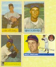 4 1954-1955 TOPPS & BOWMAN BASEBALL CLEVELAND INDIANS CARDS