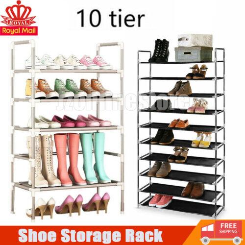10 Tiers Shoe Storage Rack Extendable /& Stackable Organiser Stand Shelf UK