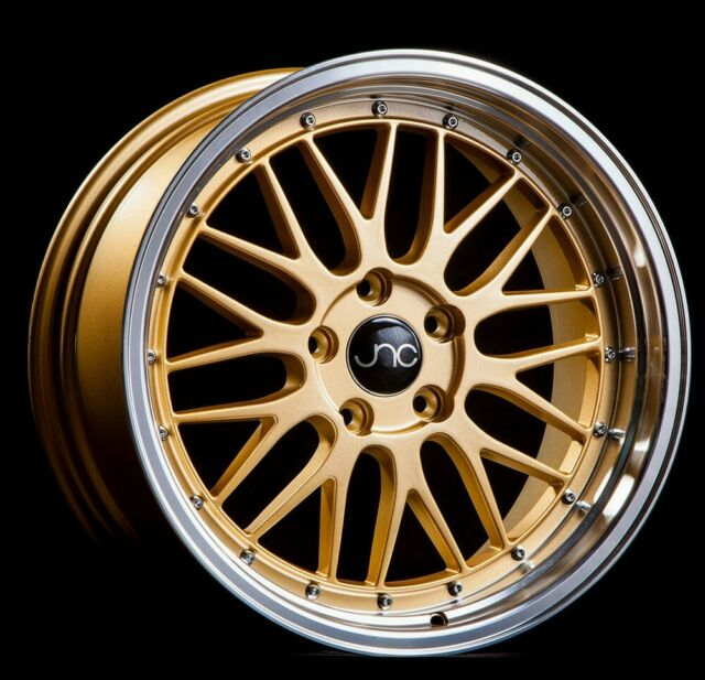 One 18x10 JNC 005 5x114.3 25 Gold Machine Lip Wheel Rim 73.1