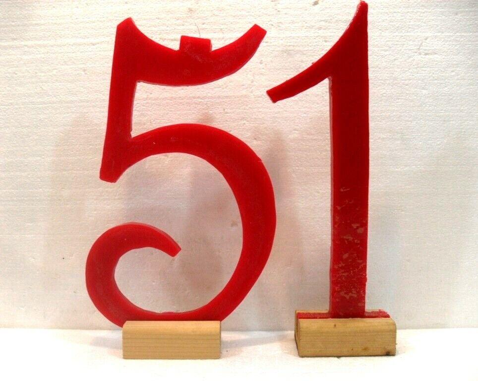 Candele GIGANTI eccezionali n° 51 cm. 34x20 e 13 base legno Farbee rot c foto