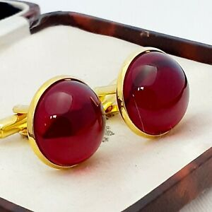 Vintage-Ruby-Red-Glass-Cabochon-Large-Round-Goldtone-Cufflinks