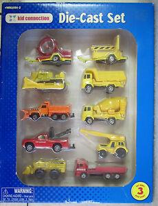 1998-Kid-Connection-Die-Cast-Construction-Vehicles-Set-of-10-Trucks-Trailers-NIB