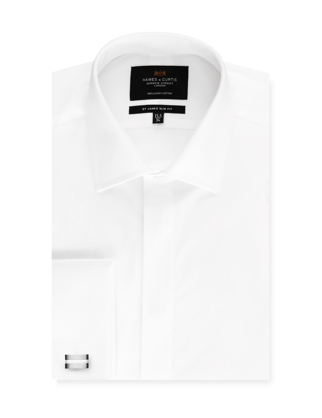 Hawes & Curtis Mens Formal Waffle Slim Fit Double Cuff Easy Iron Evening Shirt