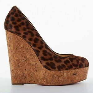 33bbede4f Image is loading CHRISTIAN-LOUBOUTIN-Coroclic-140-leopard-calf-glossy-cork-