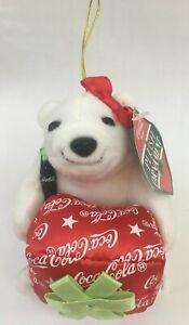 Vintage-1999-Coca-Cola-Christmas-Xmas-Holiday-Plush-Ornament-White-Polar-Bear
