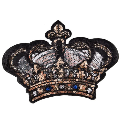 Large Crown Patch Badges Cartoons Sequins Iron On Sewing On For Clothes StickeCL