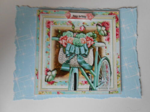 PK 2 SHABBY BIKE *HAPPY BIRTHDAY*  EMBELLISHMENT TOPPERS FOR CARDS /& CRAFT