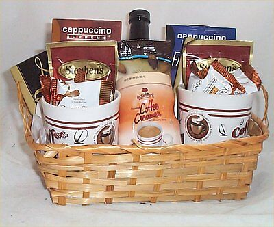 Coffee Chocolate Lovers Gift Basket Cappuccino Mocha 2 Mugs Syrup Creamer Candy