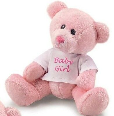 RUSS BERRIE CELEBRATION BABY GIRL PINK TSHIRT TEDDY BEAR SOFT TOY GIFT NEW