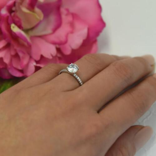 1.25 Ct Round Cut Solitaire Diamond Engagement Ring 14k White Gold Over 2