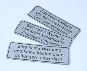 Details Zu 3x Hinweisschild Aufkleber Silber Bitte Keine Werbung Zeitungen Wetterfest