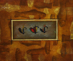 Gemaelde-Fische-Angel-Haken-handgemalt-Leinwand-Acryl-Malerei-modern-naiv