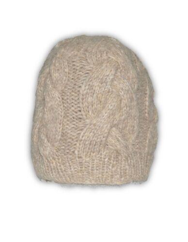 Women/'s Alpaca-Blend Hand-Knit Cable-Knit Beanie Hat
