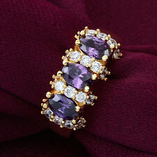 Fashion 18k yellow gold filled Amethyst&White CZ Wedding Ring Jewelry Size 8