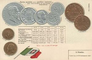 VINTAGE-ITALY-EMBOSSED-COINS-POSTCARD-MOSTLY-SILVER-SOME-COPPER