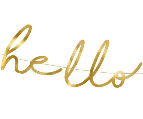 1 Piece Banner Hello Baby In Gold Party Supplies Baby Shower