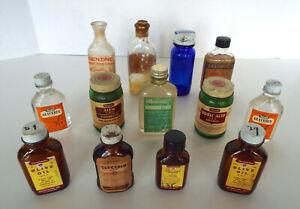 Vintage-Medicine-Bottle-Collection-13-Pc-Lot-Alum-Sweet-Oil-Nitre-Benzine-Bromo