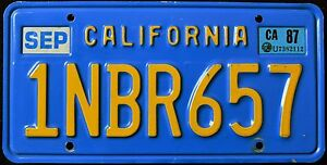 CALIFORNIA-034-BLUE-1NBR657-034-DISCONTINUED-034-1987-VINTAGE-Classic-CA-License-Plate