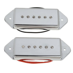 P90-Soapbar-Bridge-and-Neck-Pickups-Set-for-Electric-Guitar-Parts-Dog-Ear-Chrome