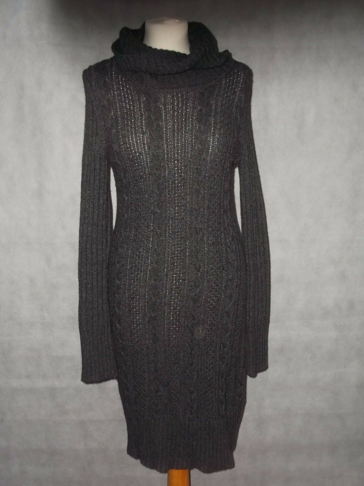 HOBBS cable knit jumper dress grey size s
