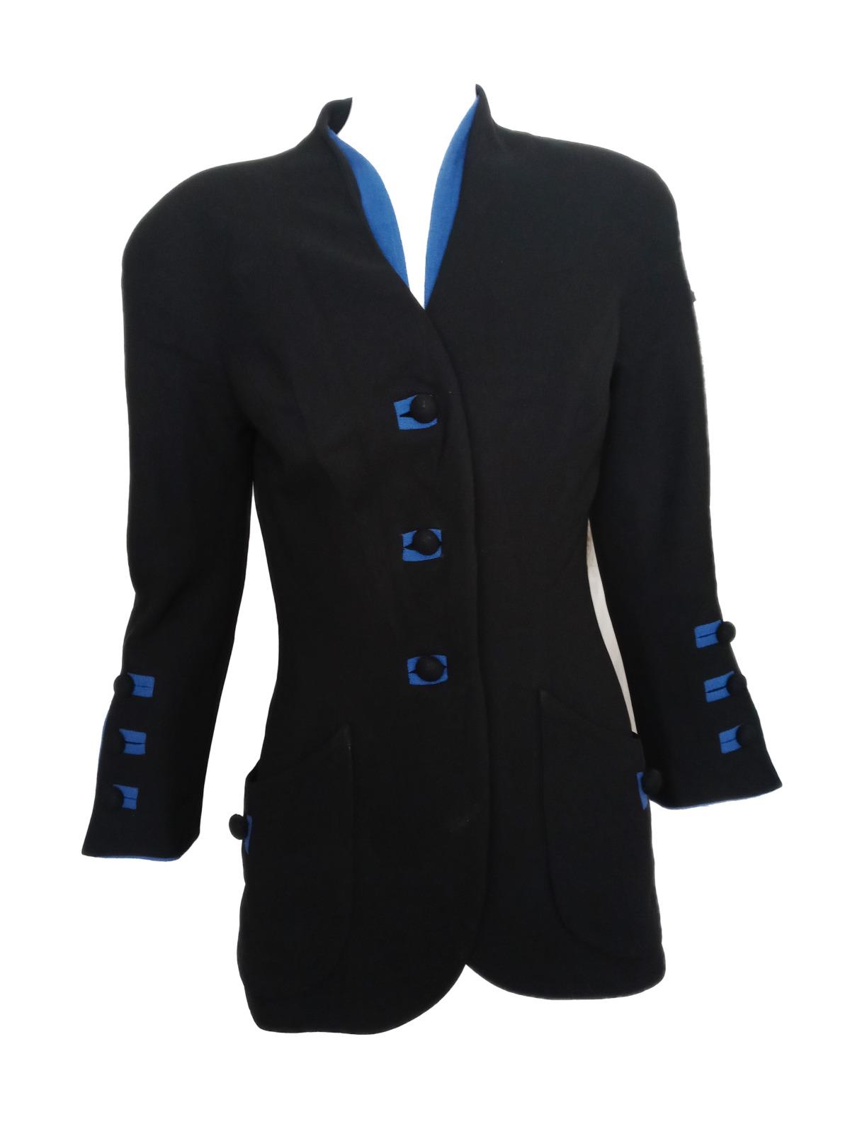 Vintage TRAVILLA '40s Striking Black w/ Blue Crep… - image 1