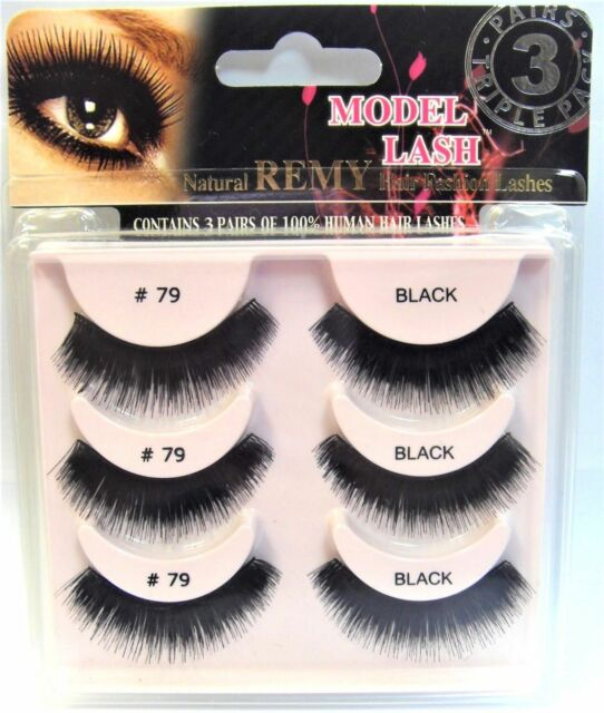Model Lash Natural Remy 3 Pairs of 100% Human Hair Lashes # M79T  Multi-Pack