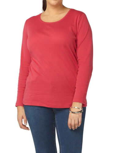 Evans Cotton SCOOP Neck WHITE RED PINK BLACK T Shirt Top Tee PLUS SIZE 14-32
