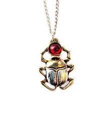 New Gold Silver Tone Red Scarab Beetle Amulet Pendant Necklace Egyptian JA12