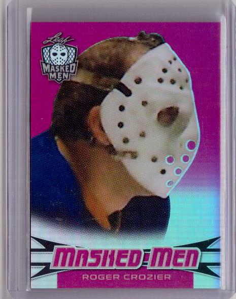 ROGER CROZIER 17/18 Leaf Masked Men Insert Card #13 Rainbow Metal Pink #d 4/10