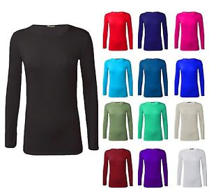 New-Womens-Long-Sleeve-Round-Neck-Plain-Basic-Ladies-Stretch-T-Shirt-Top-8-26